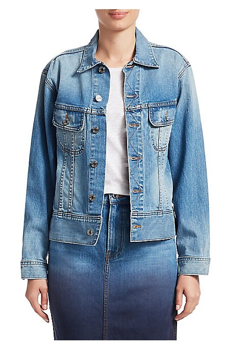 Image of Cut from soft stretch denim, this classic jean jacket is updated with a richly beaded lobster motif at the back. Point collar. Long sleeves. Button front. Chest button flap pockets. Beaded embellished applique. Cotton/lycra. Machine wash. Made in USA. SIZ