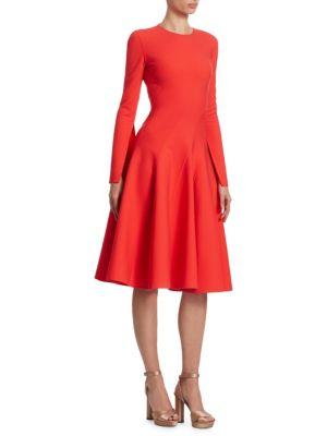Oscar De La Renta Dresses Long-Sleeve Spiral-Cut A-Line Dress