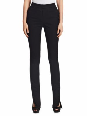 Side Slit Skinny Pants, Black