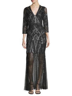 AIDAN MATTOX Beaded V-Neck Gown W/ Illusion Skirt in Black