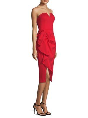 AIDAN MATTOX Strapless Midi Dress W/ Side Ruching in Red