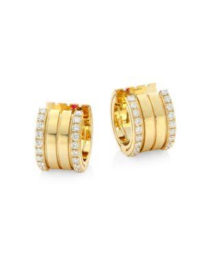 Portofino Diamond & 18 K Yellow Gold Hoop Earrings by Roberto Coin