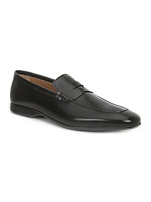 Image of Burnished calf updates sharp penny loafers Leather upper Slip-on style Almond toe Leather lining Padded insole Rubber sole Made in Italy. Men's Shoes - Mens Classic Footwear > Saks Fifth Avenue. Bruno Magli. Color: Black. Size: 41 (8).
