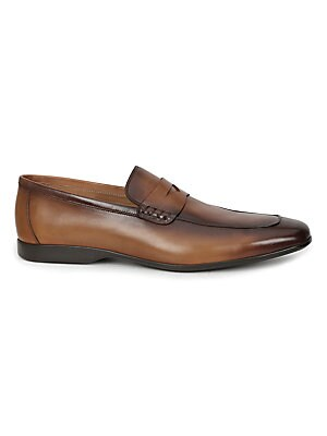 Image of Burnished calf updates sharp penny loafers Leather upper Slip-on style Almond toe Leather lining Padded insole Rubber sole Made in Italy. Men's Shoes - Mens Classic Footwear > Saks Fifth Avenue. Bruno Magli. Color: Cognac. Size: 41.5 (8.5).