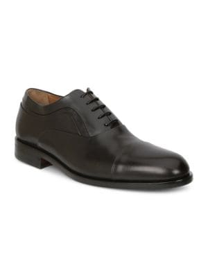 Sassiolo Leather Cap Toe Oxfords, Dark Brown Leather