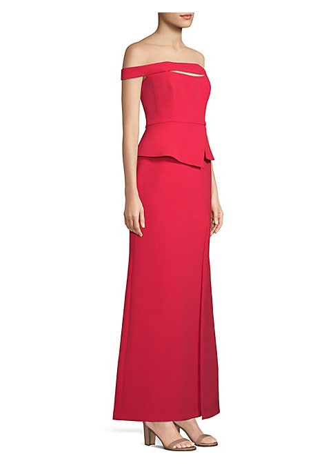 "Image of A shoulder-baring neckline adds elegance to this peplum gown. Off-the-shoulder. Concealed back zip with hook-and-eye closure. Lined. About 52.5"" from shoulder to hem. Polyester/spandex crepe. Machine wash. Imported. Model shown is 5'10"" (177cm) wearing US"