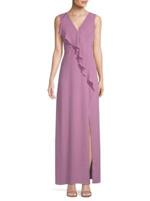 BCBG MAX AZRIA Ruffled Georgette Gown in Violetta