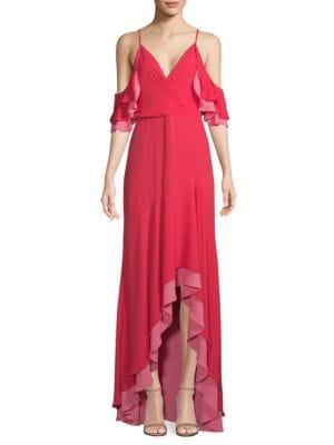 BCBGMAXAZRIA Ruffled Cold-Shoulder Gown in Lipstick Red