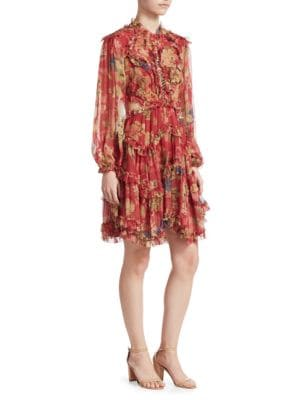 Melody Cutout Floral-Print Silk-Crepon Mini Dress, Burgundy Floral