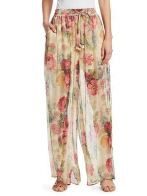 Melody Floral-Print Silk-Crepon Wide-Leg Pants, Taupe Floral