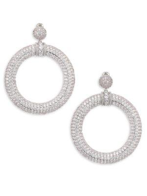 FALLON Pave Drama Hoop Earrings in Silver