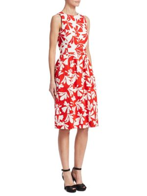 Belted Printed Cotton-Blend Twill Dress in Red