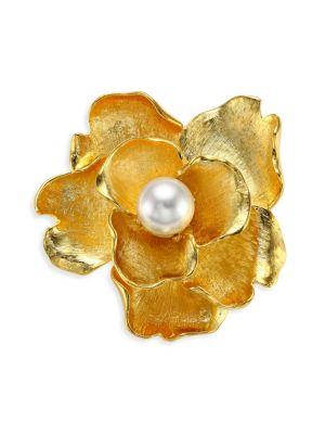 KENNETH JAY LANE Faux-Pearl Flower Brooch in Gold