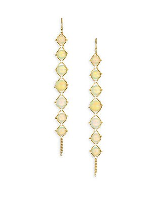 "Image of Elegant opal drop earrings set in yellow gold Genuine Ethiopian opal 18k yellow gold Drop, 2.72"" Hook Made in USA. Fashion Jewelry - Modern Jewelry Designers. Amali. Color: Yellow Gold."
