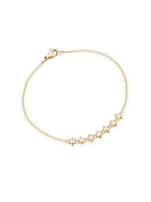 "Image of 18k gold chain bracelet dotted with stunning freshwater pearls 2.3mm white round freshwater pearl 18K yellow gold Length, about 7"" Lobster clasp Made in USA. Fashion Jewelry - Modern Jewelry Designers. Amali. Color: Yellow Gold."