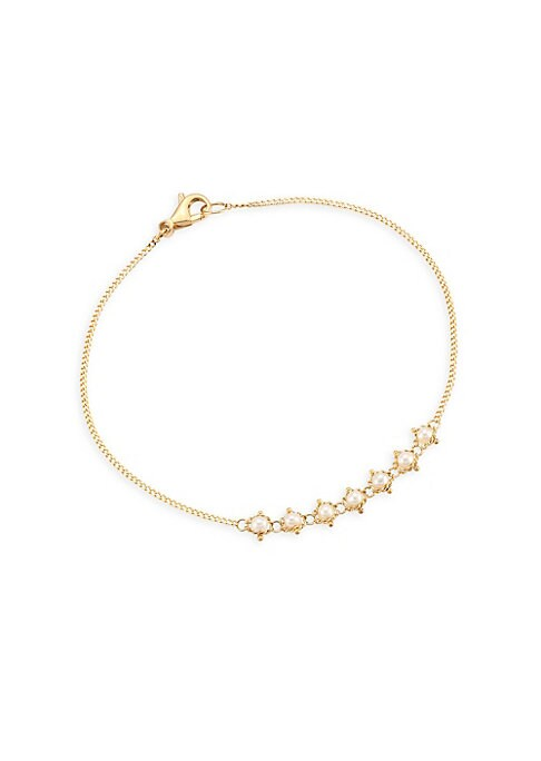 """Image of 18k gold chain bracelet dotted with stunning freshwater pearls.2.3mm white round freshwater pearl.18K yellow gold. Length, about 7"""".Lobster clasp. Made in USA."""