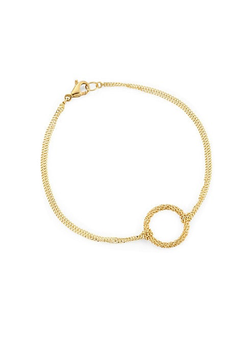 """Image of Deluxe 18K gold chain bracelet with knotted circle detail.18K yellow gold. Length, about 7"""".Lobster hook closure. Made in USA."""