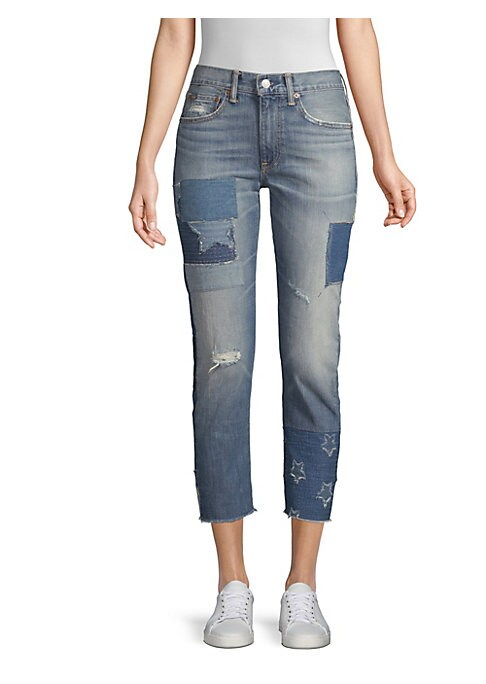 """Image of From the fashion-forward step hems to the eclectic array of patchwork, it's all in the details of these ankle-grazing statement jeans. Belt loops. Zip fly with signature shank closure. Five-pocket style. Signature leather """"Polo Ralph Lauren"""" patch at the"""