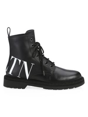 Vltn Lace-Up Leather Ankle Boots, Black White