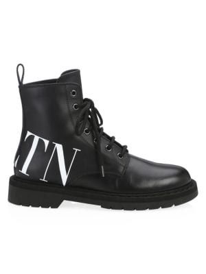Vltn Lace-Up Leather Ankle Boots, Black White from SSENSE