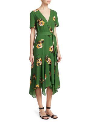 A.L.C Cora Short-Sleeve Floral Silk Wrap Dress, Cactus Saffron