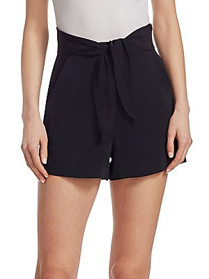 """Image of Crepe aesthetic lends elegance to minimalist shorts Banded self-tie waist Side slash pockets Back welt pockets Rise, about 11.66"""" Inseam, about 2.5"""" Viscose/elastane Dry clean Imported Model shown is 5'10"""" (177cm) wearing US size 4. Contemporary Sp - Work"""