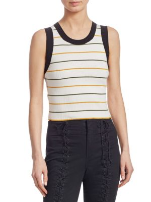 Rita Striped Sleeveless Knit Top, White Olive Mustard