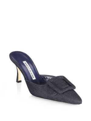 Maysale Denim Mules by Manolo Blahnik