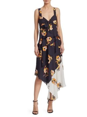 Natalia Floral Print Silk Asymmetrical Midi Dress, Black White