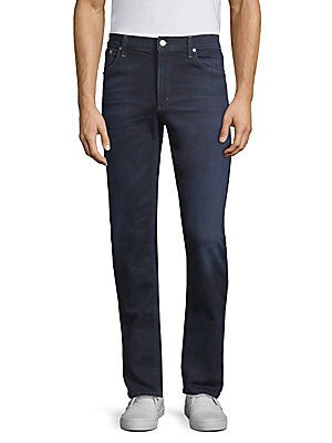"Image of Casual cotton-blend jeans with faded design. Belt loops Zip fly with button closure Five-pocket style Cotton/coolmax/spandex Machine wash Made in USA SIZE & FIT Slim fit Rise, about 10"" Inseam, about 34"" Leg opening, about 12"". Men Adv Contemp - Contemp D"