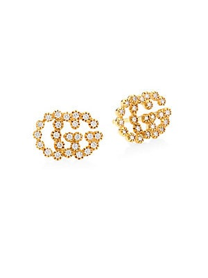 7096ee2497f Gucci - Running G Diamond 18K Yellow Gold Stud Earrings - saks.com