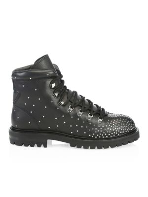 Rockstud Quilted Leather Combat Boots - Black Size 8.5