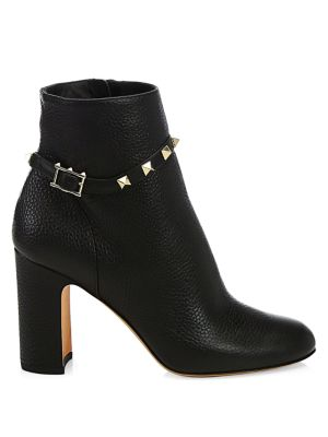 Rockstud Pebbled Leather Ankle Booties by Valentino Garavani