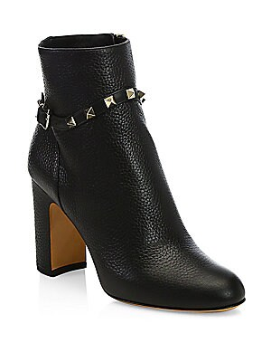 12e5618ce588 Valentino Garavani - Rockstud Pebbled Leather Booties - saks.com