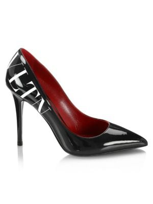 Vltn Pump In Black Patent Leather, Black White