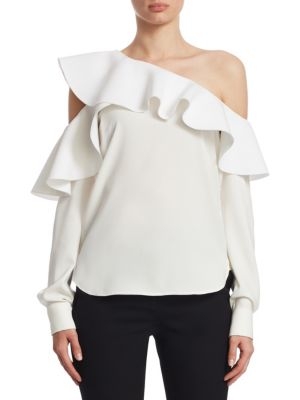 Long-Sleeve One-Shoulder Ruffle Silk Blouse, White