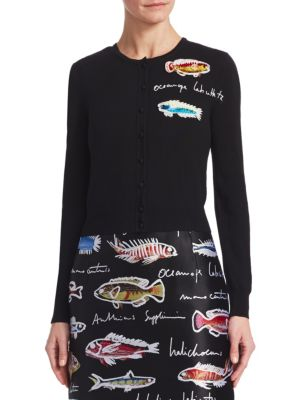 Cropped Fish Embroidered Cardigan, Black