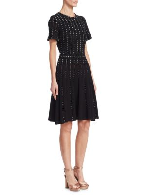 Crewneck Short-Sleeve Pearl-Embroidered Knit Dress in Black