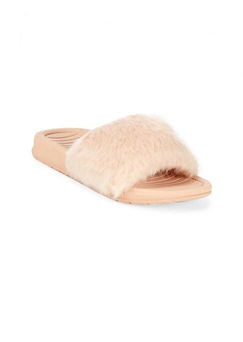 Babys Toddlers  Girls Aston Blush Classic Fur Slides