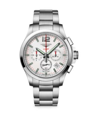 Longines Conquest 42mm Stainless Steel White Chronograph Watch