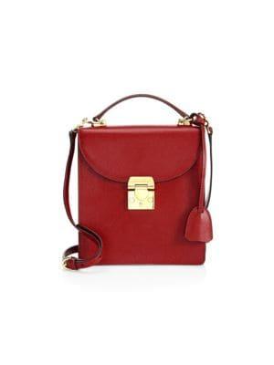 Uptown Textured-Leather Shoulder Bag, Brick Red