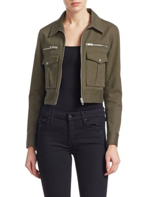 Pike Cropped Zip-Front Utility Jacket, Dark Olive