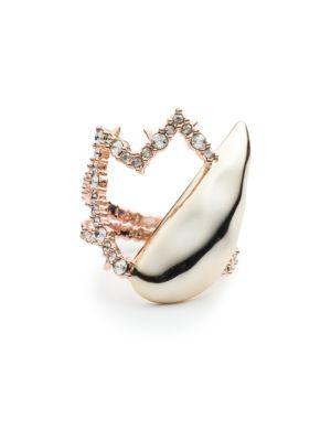 10K Goldtone Light Quartz Crystal Ring, Rose Gold