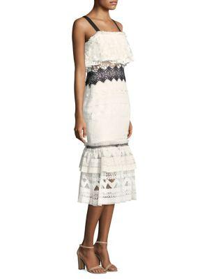 Three Floor Cold-Shoulder Ruffle Dress