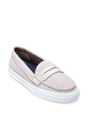 Women'S Pinch Weekender Lux Stitchlite Knit Penny Loafers, Silver/ White Leather