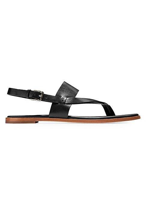Image of Chic leather sandals finished with crisscross straps. Leather upper. Open toe. Adjustable slingback strap. Man-made sole. Imported.