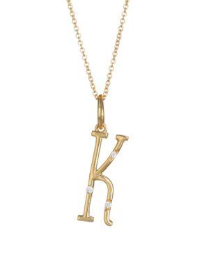 DEVON WOODHILL Character Letters Diamond & Gold K Pendant Necklace