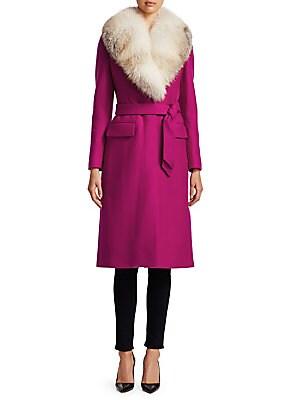 d44cbada2 Roberto Cavalli - Long-Sleeve Fox-Fur Trim Wool Coat - saks.com