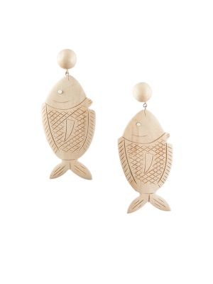 Caspia Wood & Glass Large Fish Drop Earrings by Rebecca De Ravenel