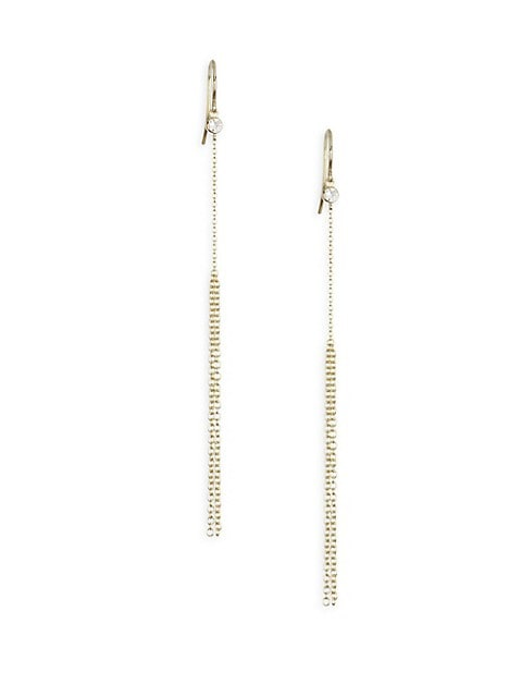 Diamond & Gold Wave Ear Fringe Earrings